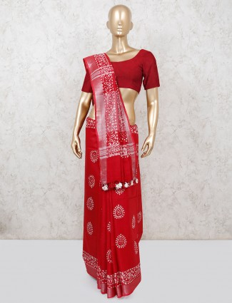 Red cotton printed saree in festive function