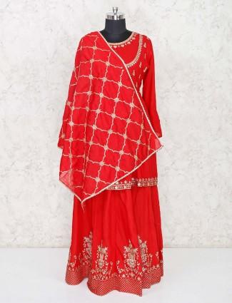 Red cotton punjabi lehenga suit with dupatta