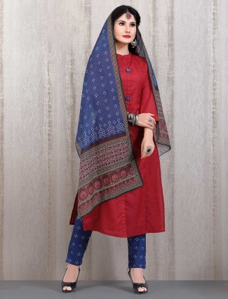 Red cotton punjabi straight cut suit in casual wear