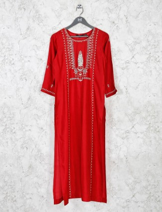 Red cotton round neck kurti