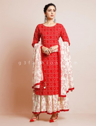 Red cotton sharara suit for festive functions
