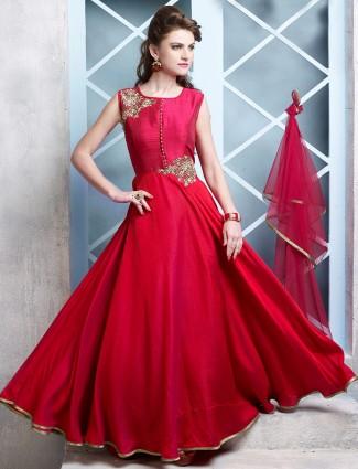 Red cotton silk embroidered wedding wear anarkali salwar suit