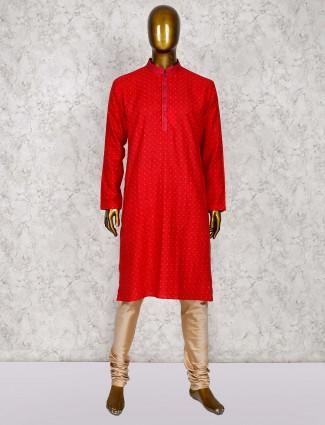 Red cotton silk half buttoned placket kurta suit