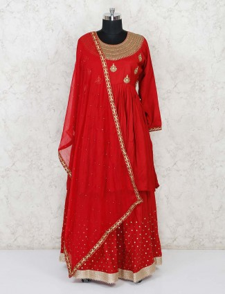 Red cotton silk lehenga suit for festivals