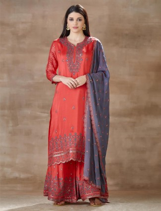Red cotton silk palazzo set for festive