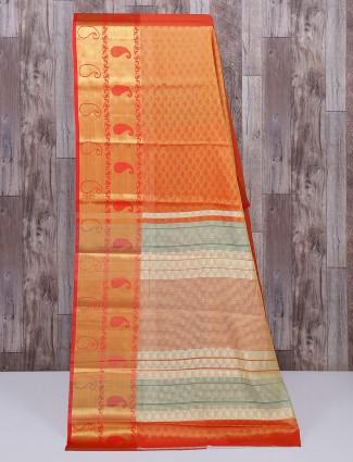 Red cotton silk stunning saree
