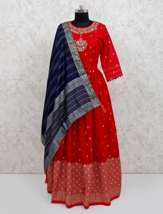 Red cotton silk wedding anarkali salwar suit