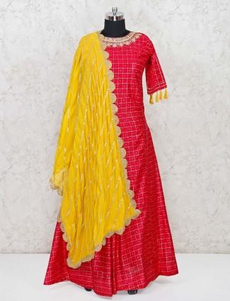 Red cotton silk wedding anarkali suit