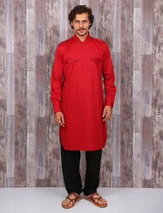 Red cotton solid pathani suit