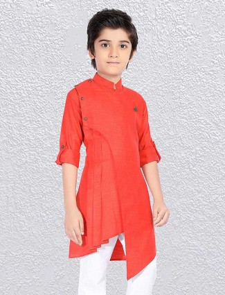 Red cotton solid short kurta