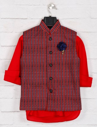 Red cotton stripe waistcoat set