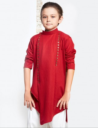 Red cotton wedding wear pathani suit