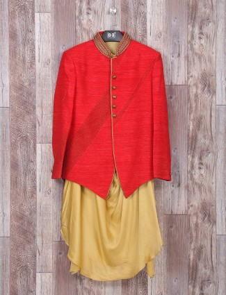 Red cream jacket style indo western in silk fabric
