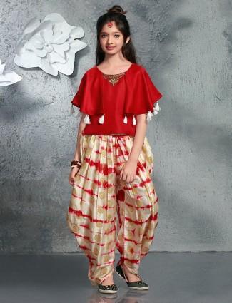 Red cream printed silk crop top style salwar suit