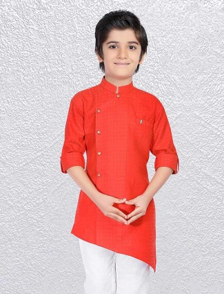 Red cross hem short kurta