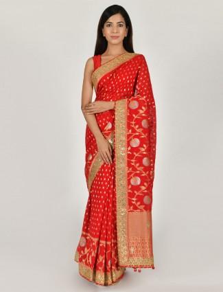 Red designer art dupion silk saree for pretty womens
