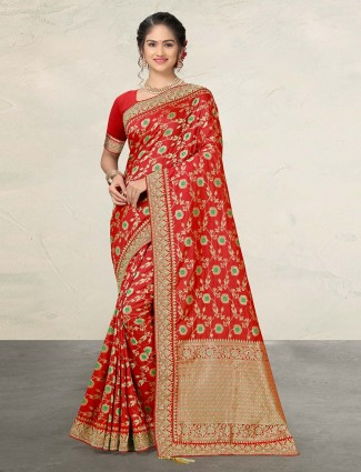Red designer banarasi silk saree
