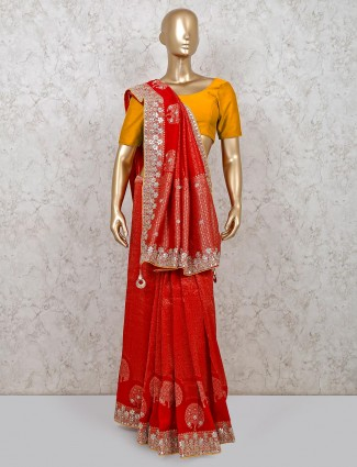 Red designer banarasi silk saree for weddings