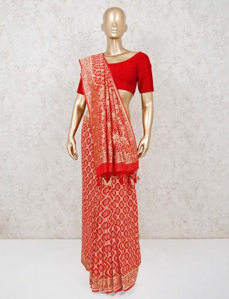 Red designer bandhej wedding days saree