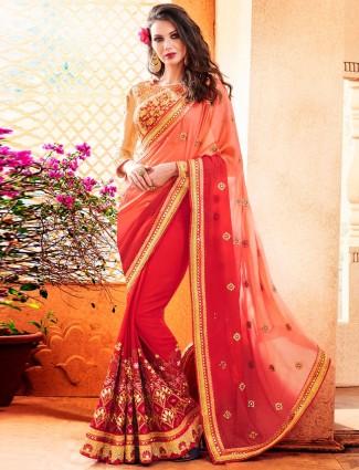 Red designer festive wear georgette saree