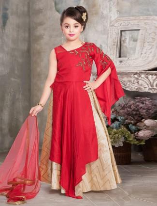 Red designer floor length anarkali suit for wedding