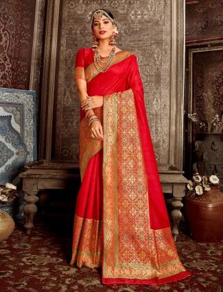Red designer handloom banarasi silk saree