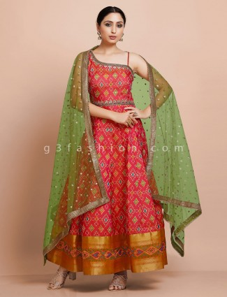 Red designer kurti with dupatta in patola silk for wedding