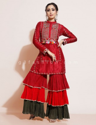 Red designer palazzo set in cotton silk