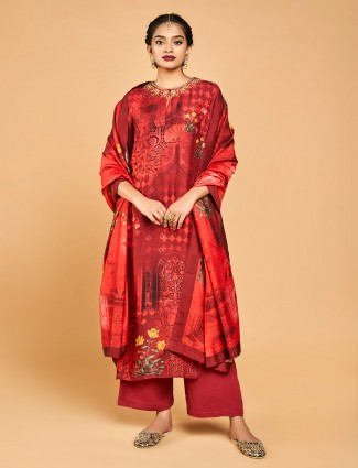 Red designer punjabi palazzo suit in cotton silk