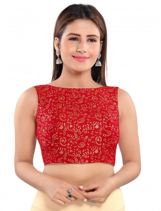 Red designer raw silk readymade blouse for wedding