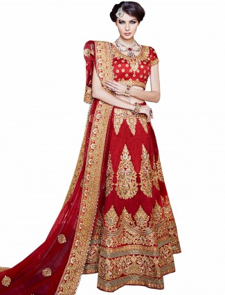 Red designer semi stitched bridle wear lehenga choli