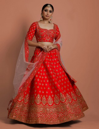 Red designer silk lehenga choli in bridal wear