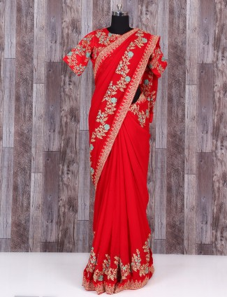 Red dressy georgette awesome saree