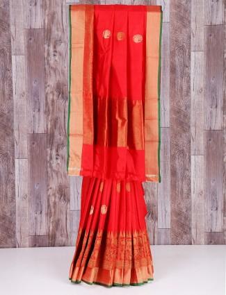 Red dressy silk wedding wear saree