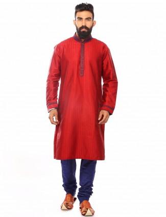 Red dupion silk festive wear Kurta Suit