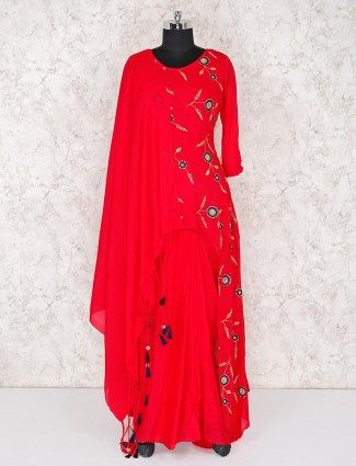 Red embroidered salwar suit in georgette