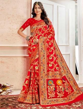 Red embroidery banarasi silk saree
