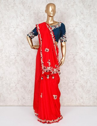 Red embroidery saree with ready made blouse