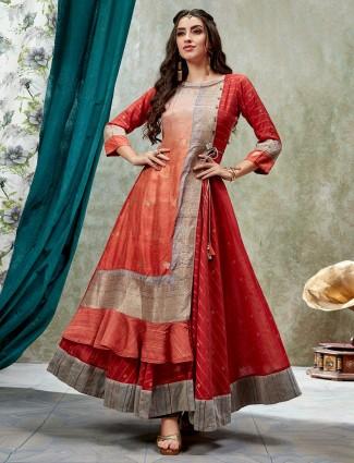 Red festive wear cotton silk anarkali kurti
