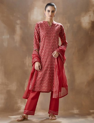 Red festive wear kurti and pant in cotton