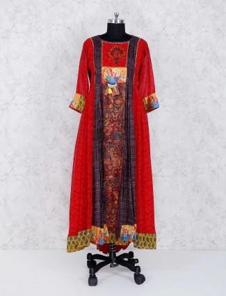 Red festive wear long kurti