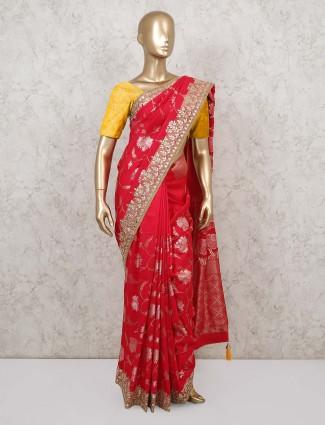 Red foil print muga silk saree for weddings