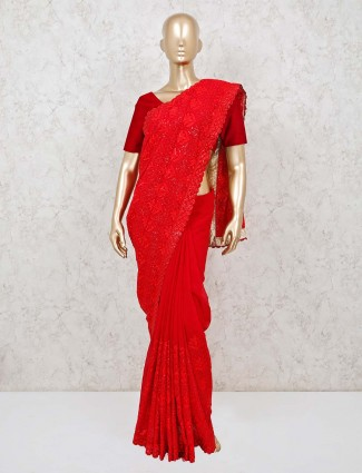 Red georgette designer wedding and party saree