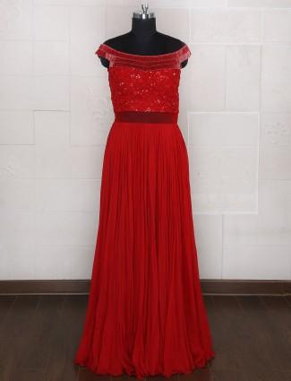 Red georgette designer wedding gown