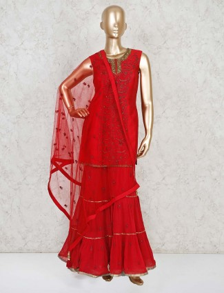 Red georgette party punjabi sharara suit