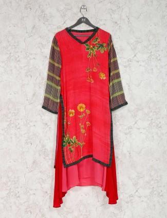 Red georgette printed festive kurti