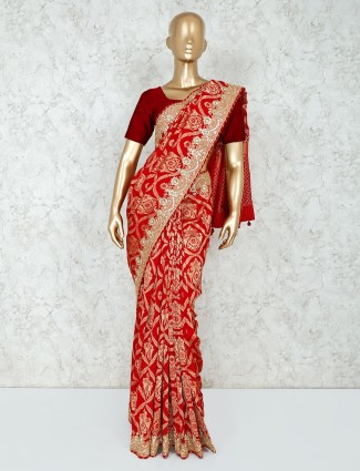 Red georgette saree for bridal