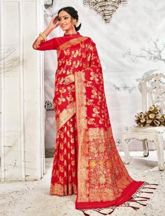 Red handloom banarasi silk saree for wedding events
