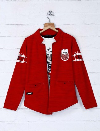 Red hue chinese neck cotton blazer