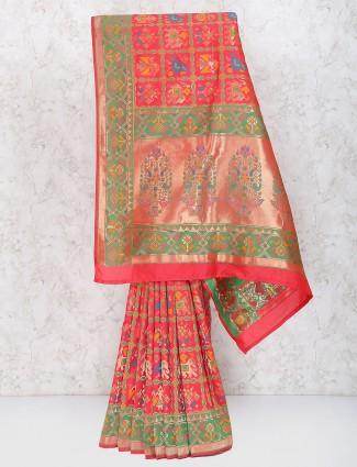 Red hue color semi silk patola saree